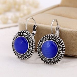 *MERIDIAN* Silver x Blue  Fashion Hook Earrings
